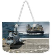 A Hovercraft Approaches Uss New Orleans Weekender Tote Bag