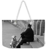 A Lady With Her Dog In Barcelona Weekender Tote Bag