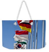 A Line Of Flags Represent The Countries Weekender Tote Bag