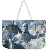 A Lone Astronaut Stares At A Statue Weekender Tote Bag