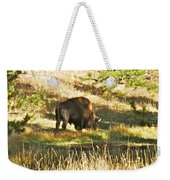 A Lone Bison In Yellowstone 9467 Weekender Tote Bag