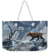 A Lone Sabre-toothed Tiger In A Cold Weekender Tote Bag