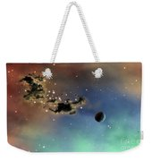 A Lonely Planet Is Lit By Two Stars Weekender Tote Bag