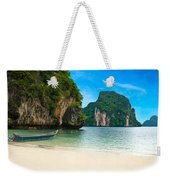 A Long Tail Boat By The Beach In Thailand  Weekender Tote Bag