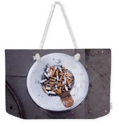 A Lot Of Cigarettes Stubbed Out At A Garbage Bin Weekender Tote Bag