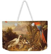 A Macaw - Ducks - Parrots And Other Birds In A Landscape Weekender Tote Bag