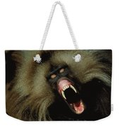 A Male Gelada Baboon Bares His Fangs Weekender Tote Bag