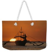 A Man And An Outrigger Silhouetted Weekender Tote Bag