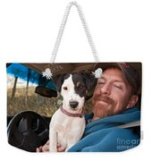 A Man And His Puppy In Wv Weekender Tote Bag