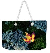A Maple Leaf Lies On A Bed Of Moss Weekender Tote Bag