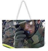 A Marine Communicates Over The Radio Weekender Tote Bag