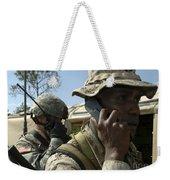 A Marine Communicates With Aircraft Weekender Tote Bag