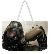 A Marine Drinks Water From A Canteen Weekender Tote Bag