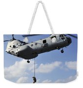 A Marine Fast Ropes From A Ch-46e Sea Weekender Tote Bag