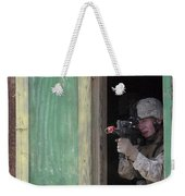 A Marine Posts Security Out Of A Window Weekender Tote Bag