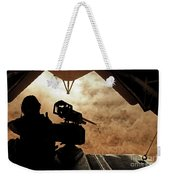 A Marine Waits For Dust To Clear While Weekender Tote Bag