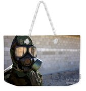 A Marine Wearing A Gas Mask Weekender Tote Bag