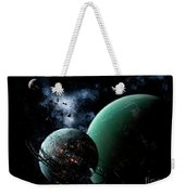 A Massive Space Station Orbits A Large Weekender Tote Bag
