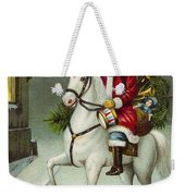 A Merry Christmas Card Of Santa Riding A White Horse Weekender Tote Bag