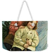 A Merry Christmas Postcard With Sledding Girls Weekender Tote Bag
