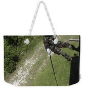 A Midshipman Rappels Down A Wall Weekender Tote Bag