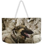 A Military Working Dog Sits At The Feet Weekender Tote Bag by Stocktrek Images