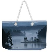 A Misty Forest Lake With A Small Island Weekender Tote Bag