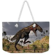 A Nano-tyrannosaurus Takes On Adam Weekender Tote Bag