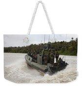 A Navy Riverine Patrol Boat Conducts Weekender Tote Bag