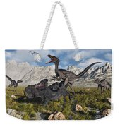 A Pack Of Velociraptors Attack A Lone Weekender Tote Bag