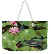 A Painted Turtle Rests On A Water Lily Weekender Tote Bag