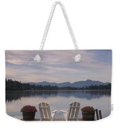 A Pair Of Adirondack Chairs On A Dock Weekender Tote Bag