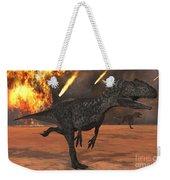 A Pair Of Allosaurus Dinosaurs Running Weekender Tote Bag