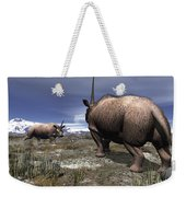 A Pair Of Male Elasmotherium Confront Weekender Tote Bag