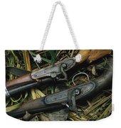 A Pair Of Old Flint-type Rifles Lying Weekender Tote Bag