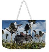A Pair Of Velociraptors Attack A Lone Weekender Tote Bag