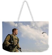 A Paratrooper Looks On As Other Weekender Tote Bag
