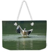 A Pelican Drying Its Wings After Landing In The Lake Inside Delhi Zoo Weekender Tote Bag
