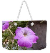 A Photo Of A Purple Trumpet Shaped Flower Weekender Tote Bag
