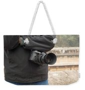 A Photographer With His Digital Camera On Location At A Historical Monument Weekender Tote Bag