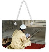 A Pious Devotee Reading The Quran Inside The Jama Masjid In Delhi Weekender Tote Bag