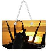 A Plane Captain Enjoys A Sunset Weekender Tote Bag