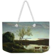 A Pond With Three Cows And A Crescent Moon Weekender Tote Bag