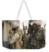 A Radio Operator Helps A Platoon Weekender Tote Bag by Stocktrek Images