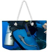 A Remora Attached To A Diver, Kimbe Weekender Tote Bag