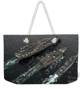 A Replenishment At Sea Between Uss Weekender Tote Bag