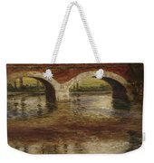 A River Landscape With A Bridge  Weekender Tote Bag