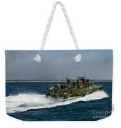 A Riverine Command Boat During Exercise Weekender Tote Bag