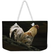 A Rooster Struts On A Wood Roof Weekender Tote Bag