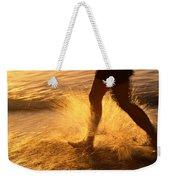 A Runner Splashing Through The Surf Weekender Tote Bag